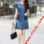 Đầm Jean Dạo Phố Cổ Trụ 2 Túi