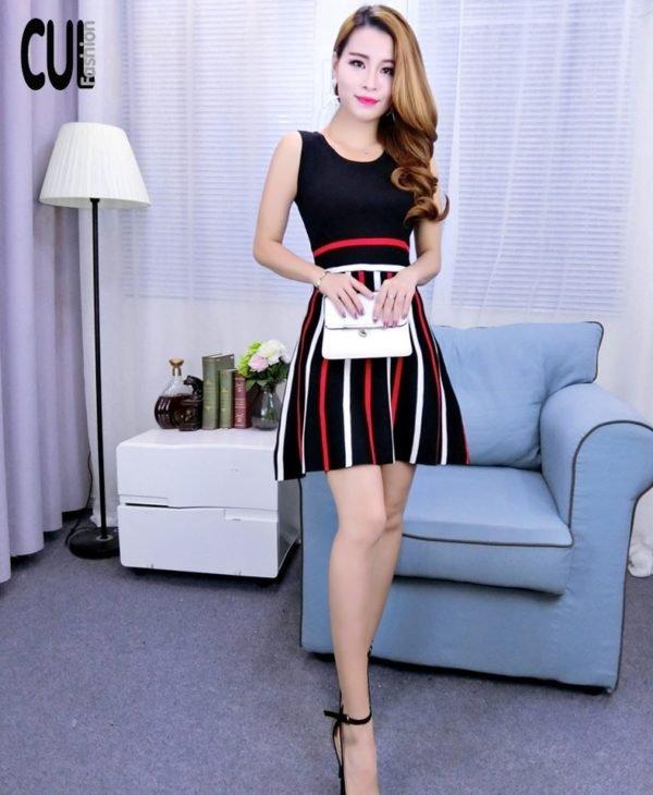 Đầm Xòe Váy Kẻ Sọc
